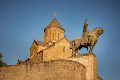 Statue of king. Vakhtang Gorgasali in Tbilisi, Georgia royalty free stock photography