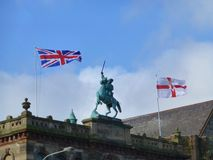 Statue of King William in Belfast. King William on his horse - statue atop the Orange Hall, Clifton St., Belfast, Northern Ireland Royalty Free Stock Photos
