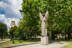 Statue of Kliment Ohridski in Sofia, Bulgaria Stock Photos