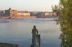 Statue of the knight Bruncvik, Charles bridge, Prague Stock Image