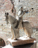 Statue of knight on horse in armor Royalty Free Stock Photo