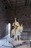 Statue of knight on horse, with spear and in armor Royalty Free Stock Photos