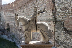 Statue of knight at old bridge in Verona  - Castelvecchio Royalty Free Stock Photography