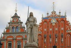 Statue knight in Riga Stock Photos