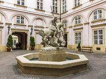 Statue of knight St George slaying the dragon - fountain in Prim Royalty Free Stock Images