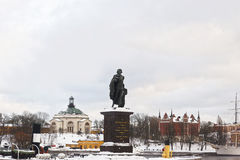 Statue of Konung Gustav and winter Skeppsholmen of Stockholm Stock Images