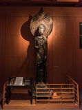Statue of Kudara Kannon. Carved by `ichiboku zukuri` method, almost wholly out of single block of camphor wood and hollowed at back. Replica of 7th-century Stock Image