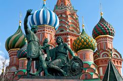 Statue of Kuzma Minin and Dmitry Pozharsky. In front of St. Basil Cathedral. The cathedral was built between 1555 and 1561 by the architects Barma and Postnik Stock Image
