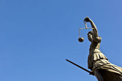 Statue of Lady Justice. Justitia in front of the Romer in Frankfurt - Germany royalty free stock image