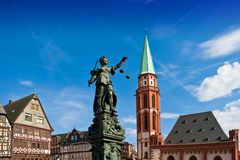 Statue of Lady Justice. In Frankfurt's central square Royalty Free Stock Image