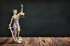 Statue of Lady Justice with Available Copy Space. Statue of Lady Justice on Black Board Background with Available Copy Space royalty free stock photography