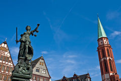 Statue of Lady Justice in Frankfurt. 's central square Royalty Free Stock Photos