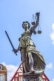 Statue of Lady Justice in front of the Roemer in Frankfurt Royalty Free Stock Photos