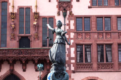 Statue of Lady Justice in front of the Romer Stock Photography