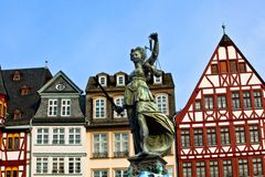Statue of Lady Justice in front of the Romer Stock Images