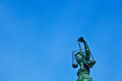 Statue of Lady Justice in front of the Romer Royalty Free Stock Photo