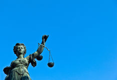 Statue of Lady Justice in front of the Romer in Frankfurt - Germ Royalty Free Stock Photography