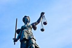 Statue of Lady Justice in front of the Romer in Frankfurt Stock Photo