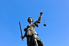 Statue of Lady Justice in front royalty free stock images