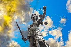 Statue of Lady Justice in front of the Romer in Frankfurt Royalty Free Stock Photos