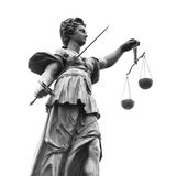 Statue of Lady Justice (Justitia). Black and White Royalty Free Stock Photography