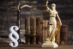 Statue of lady justice, Law concept and paragraph. Mallet, Law, legal code and scales of justice concept and paragraph sign stock photography