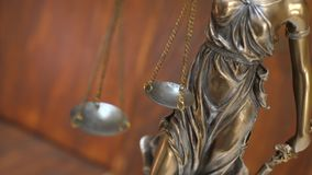 Statue of Lady Justice. Scales of Lady Justice. Femida and law concept stock footage