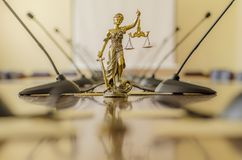 Statue of Lady Justice in th conference room Stock Photography