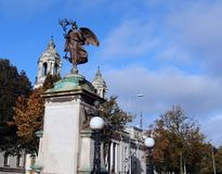 Statue of Ladysmith Kimberly and City Hall, Cardiff, Wales,UK Royalty Free Stock Images
