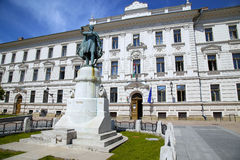 Statue of Lajos Kossuth and governmental building in Pecs, Hunga Royalty Free Stock Photo