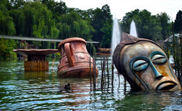 Statue in Lake. Statue and vase in Lake Stock Photography
