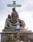 Statue Lamentation of Christ on the Charles Bridge in Prague, Czech Republic. Landmark Royalty Free Stock Images