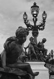 Statue and Lamppost, Paris royalty free stock images