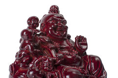Statue laughing Buddha - Budai or Hotei. Cheerful monk isolated on white. Stock Photography
