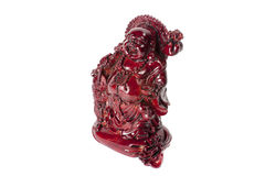 Statue laughing Buddha - Budai or Hotei. Isolated cheerful monk. Statue laughing Buddha - Budai or Hotei. Cheerful monk with dragon and money isolated on white Stock Photos