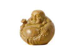 Statue laughing Buddha - Budai or Hotei. isolated cheerful monk. Royalty Free Stock Images