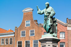 Statue Laurens Coster on market square in Haarlem, Netherlands Stock Image
