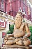Statue in Laxmi Narayan temple. Statue of man in meditation pose with mala in Laxmi Narayan temple or birla madir in new delhi, India stock photography