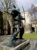 Robin Hood. Statue of the legendary archer Robin Hood stood outside Nottingham Castle Royalty Free Stock Images