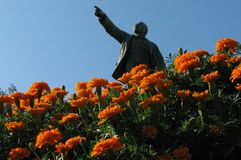 Statue of Lenin and Flowers in Vladivostok. Vladivostok is a city and the administrative center of Primorsky Krai, Russia, located at the head of the Golden Horn Stock Images