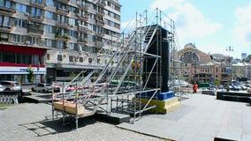 Statue of Lenin monument destroyed in December, 2013, Kiev, Ukraine, stock video footage