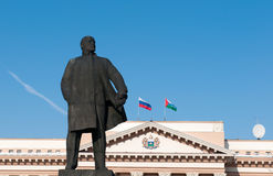 Statue of Lenin and town hall in Tyumen Royalty Free Stock Photos