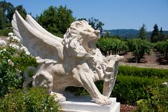 Statue of leo. With wings at a winery in Napa Valley, California stock image