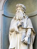 Statue of Leonardo da Vinci in Florence. Italy stock photos