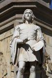 Statue of Leonardo da Vinci at Piazza della Scala, Milan, Italy. Statue of Leonardo da Vinci at Piazza della Scala, details of plinth, Milan, Italy stock photo