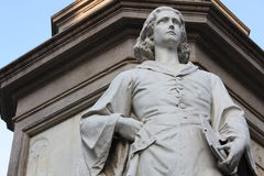 Statue of Leonardo Da vinci in Piazza della Scala, Milan, Italy. Stock Photos