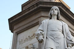 Statue of Leonardo Da vinci in Piazza della Scala, Milan, Italy. Stock Photo