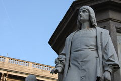 Statue of Leonardo Da vinci in Piazza della Scala, Milan, Italy. Details on Statue of Leonardo Da Vinci in Piazza della Scala, Milan, Italy royalty free stock photo