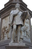 Statue of Leonardo Da vinci in Piazza della Scala, Milan, Italy. Details on Statue of Leonardo Da Vinci in Piazza della Scala, Milan, Italy royalty free stock photos
