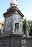 Statue of Leonardo Da vinci in Piazza della Scala, Milan, Italy. Details on Statue of Leonardo Da Vinci in Piazza della Scala, Milan, Italy stock photography